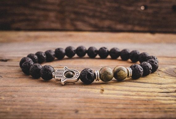 Lava and Agate beaded stone bracelet with Hamsa hand