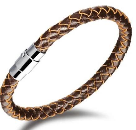 Single braided bracelet golden brown