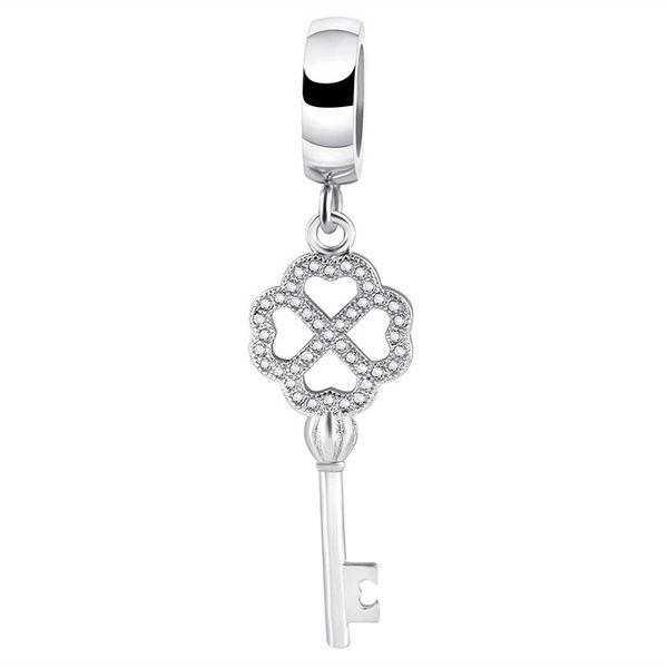 Stainless steel jeweled key charm