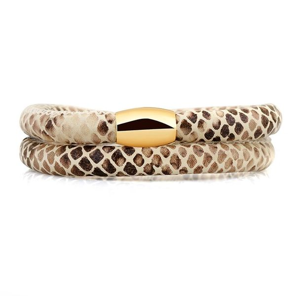 Padded leather snakeskin wrap bracelet