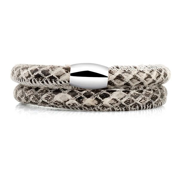 Light snake padded leather wrap bracelet