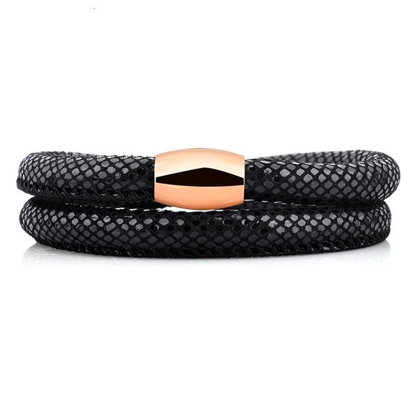 Black snake padded leather wrap bracelet