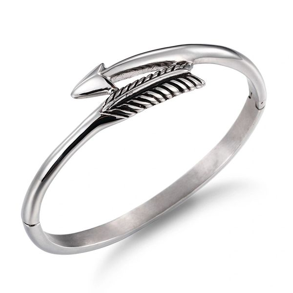 Stainless steel silver arrow bangle