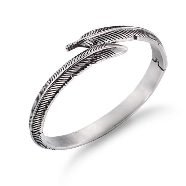 Stainless steel engraved feather bangle