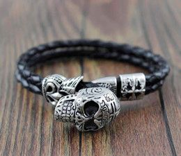 Leather braided skull head biker bracelet