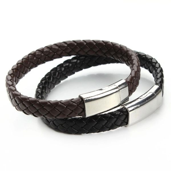 Double wide braided leather bracelet