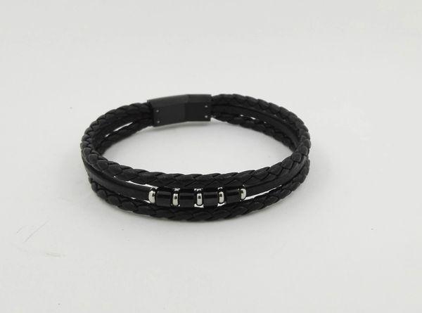 Braided leather triple strand bracelet