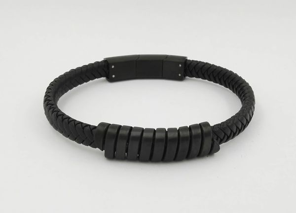 Single leather bracelet with black trim