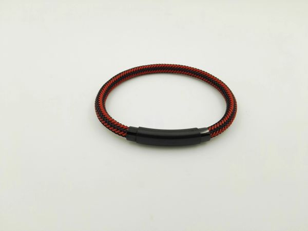 Stainless steel red and black wire bracelet
