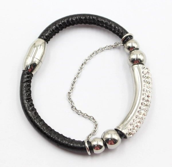 Padded leather bracelet with gems