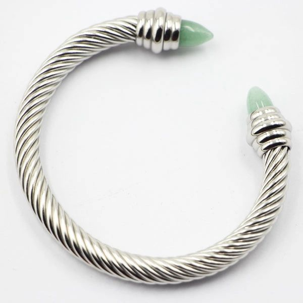 Stainless steel cable bangle with colored ends
