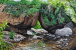 Acrylic, Landscape, Rocky creek bed, green bushes and plants