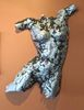 Metal Sculpture, Female torso, Bicycle chain with melted Aluminum