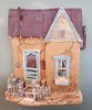 2D wall Sculpture, Southwest Art, Adobe House with tin roof and blue door