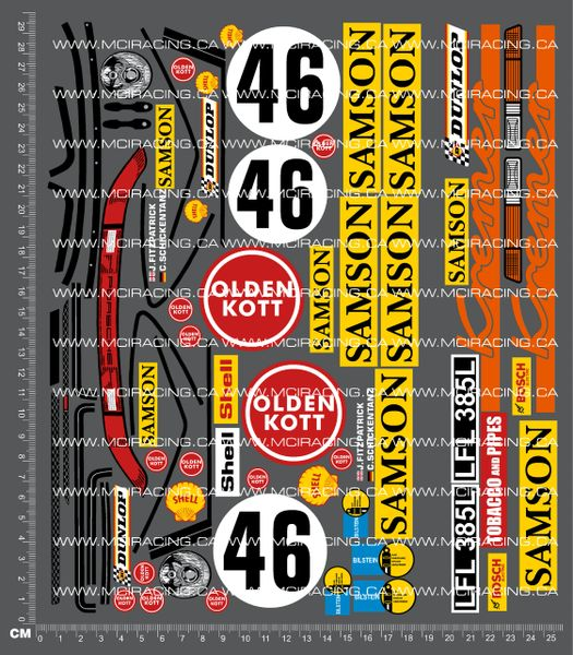 1/10TH PORSCHE - 911 SAMSON DECALS