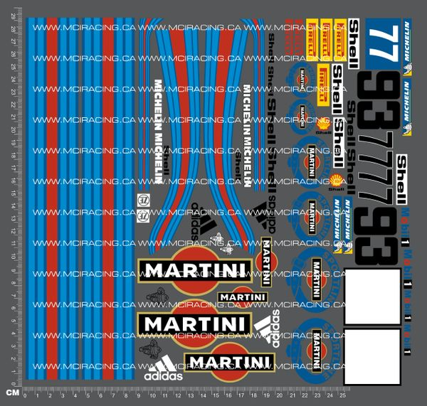 1/10TH PORSCHE - MARTINI DECALS