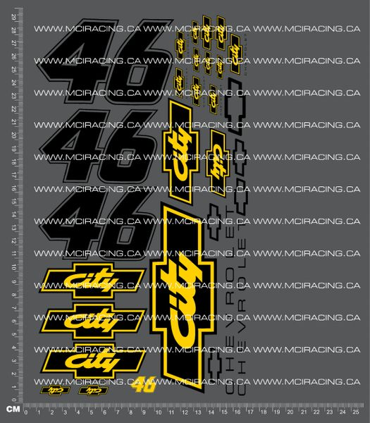 1/10TH NASCAR - DAYS OF THUNDER - CITY 46 DECALS