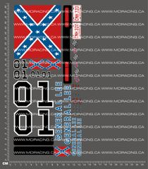 1/10TH GENERAL LEE DUKES OF HAZARD DECALS