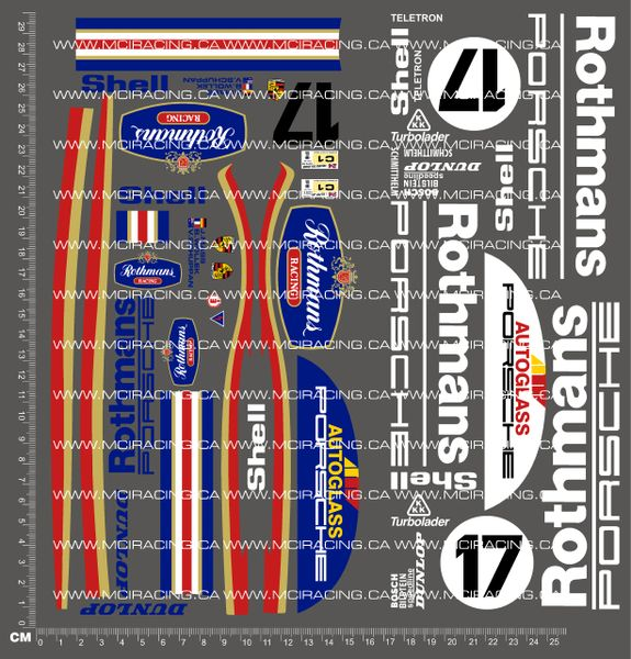 1/10TH PORSCHE - 962 ROTHMANS DECALS