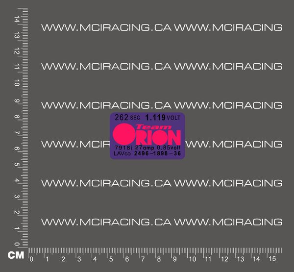 1/10TH BATTERY RC SUB C CELL - MATCHED BATTERY LABEL - ORION PURPLE AND PINK
