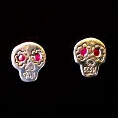 Skull Earings with Ruby Eyes