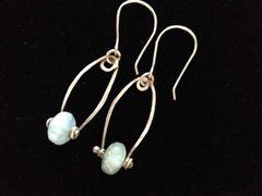 Fine Silver Earrings with Aqua Marine Polished Stones