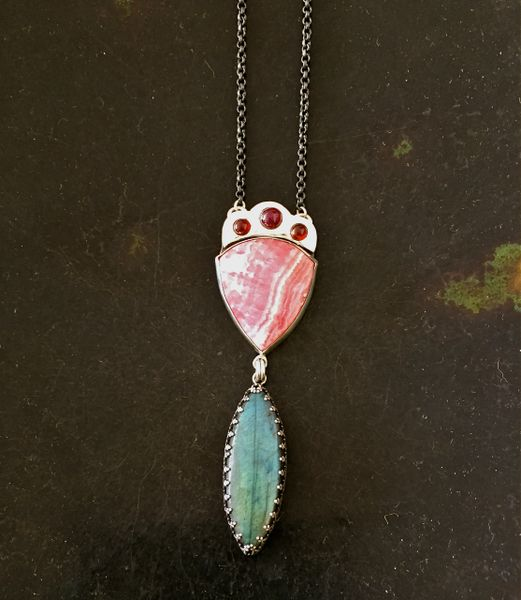 Garnets over Rhodochrosite set in Sterling Silver with Labradorite. One of a kind.