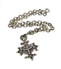 The Omi Sterling Silver Normandy Cross on hand pounded chain