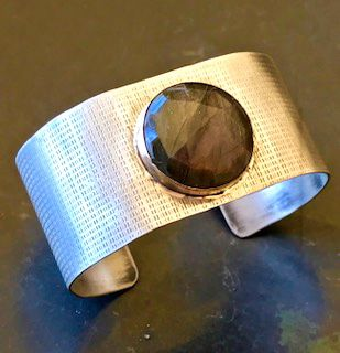 Sterling Silver Cuff with Rose Cut Purple Labradorite Set in 14k Gold