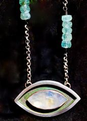 Evil Eye Pendant w/ Rainbow Moonstone and Apatite Beads