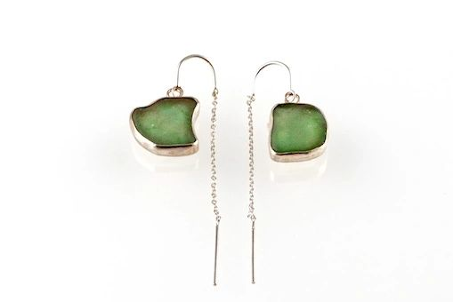 Sea Glass Threader Earrings