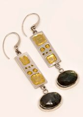 Fine Silver Geometric Earrings w/ Labradorite