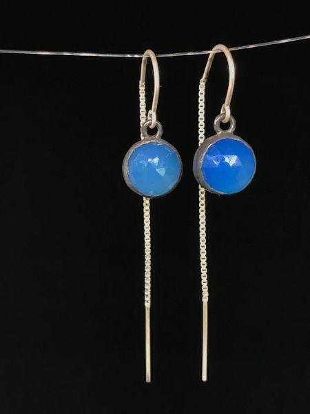 Cobalt Chalcedony Threader Earrings