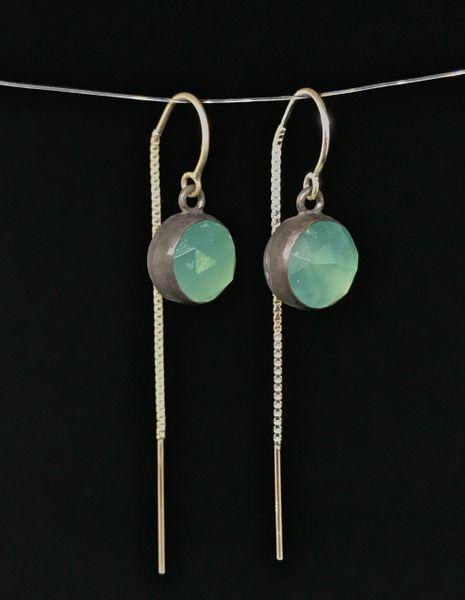 Aqua Chalcedony Threader Earrings