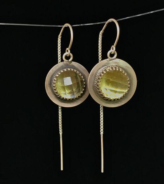 Lemon Quartz Drop Earrings in Sterling Silver