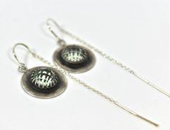 Green Amethyst threader Earrings in Sterling Silver