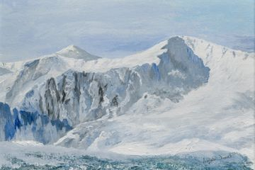 Snowdonia, snow, mountains, winter, original painting, Wales, Aniela Jones, artist, Aniela Designs