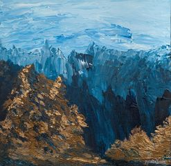 Original painting, contemporary, semi-abstract, mountains, forests, metallic, Aniela Jones, artist