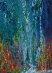 Contemporary, semi-abstract, art, ravine, waterfalls, faces, painting, Aniela Jones, artist