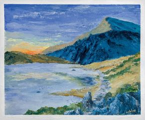 Snowdonia, mountains, lake, original art, Wales, Aniela Jones, artist, Aniela Designs