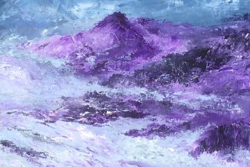 Original painting, contemporary, semi-abstract, mountains, mist, Aniela Jones, artist, landscape