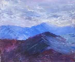 North Wales mountain landscape, heather, original art, Wales, Aniela Jones, artist, Aniela Designs