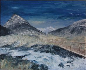 Snowdonia, snow, mountains, winter, Tryfan, original painting, Wales, Aniela Jones, artist, art