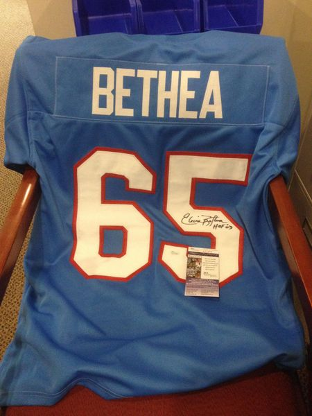 #65 ELVIN BETHEA Houston Oilers NFL DE Blue Throwback Jersey AUTOGRAPHED