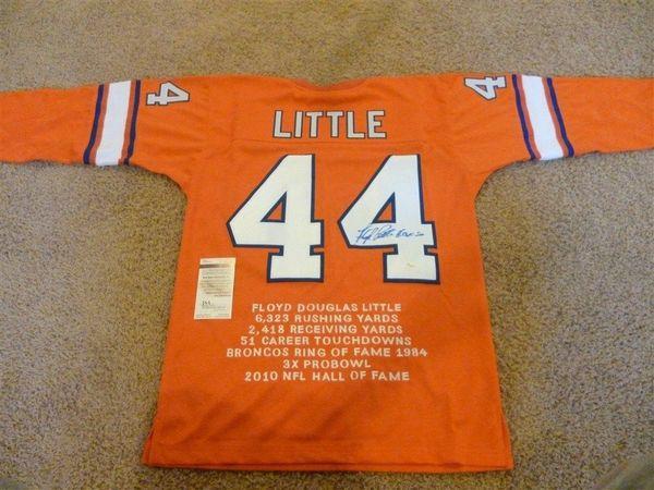 #44 FLOYD LITTLE Denver Broncos AFL/NFL RB Orange Stats Throwback Jersey AUTOGRAPHED