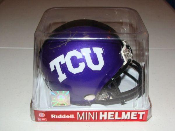 #5 LaDAINIAN TOMLINSON TCU Horned Frogs NCAA RB Purple Mini Helmet AUTOGRAPHED