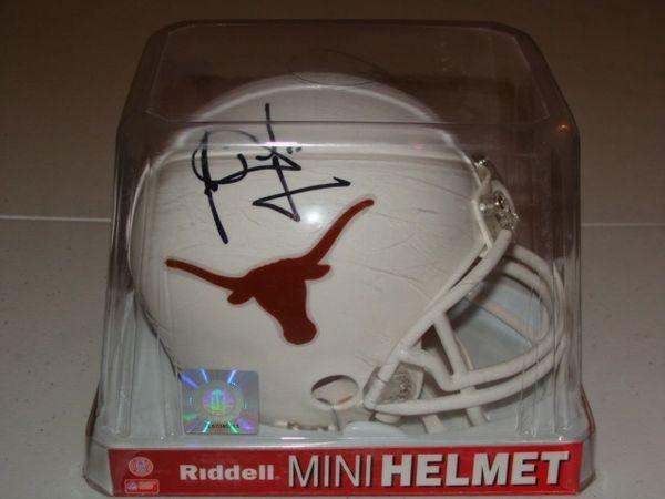 #10 VINCE YOUNG Texas Longhorns NCAA QB White Mini Helmet AUTOGRAPHED