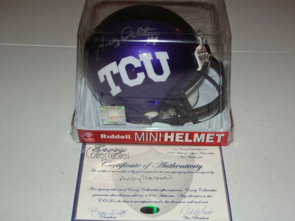 #14 ANDY DALTON TCU Horned Frogs NCAA QB Purple Mini Helmet AUTOGRAPHED