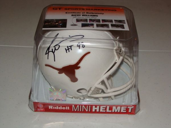 #34 RICKY WILLIAMS Texas Longhorns NCAA RB White Mini Helmet AUTOGRAPHED