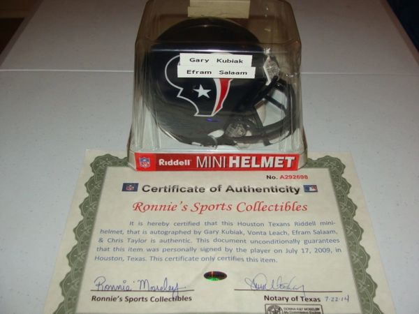 HOUSTON TEXANS NFL Team Blue Mini Helmet AUTOGRAPHED by Coach & 3 Players